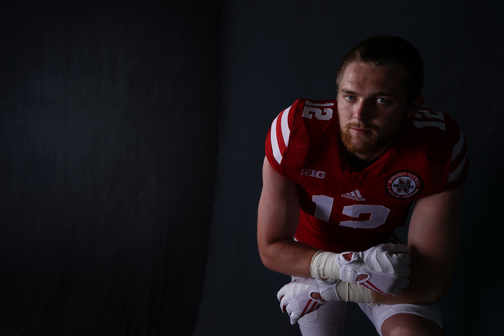 Luke Gifford #12 during a portrait session at Memorial Stadium in Lincoln, Neb. on June 7, 2017. Photo by Paul Bellinger, Hail Varsity