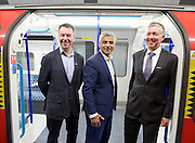 Sadia Khan at London's Night Tube launch at Brixton tube station, London, Great Britain <br /> 19th August 2016 <br /> <br /> Mark Wild - MD London Underground <br /> Sadia Khan - Mayor of London <br /> Mike Brown TFL - Commissioner<br /> <br /> <br /> Sadia Khan, mayor of London,  launched the first night tube service and travelled on a tube train between Brixton and Walthamstow on the Victoria Line. <br />  <br /> He launched the first 24 hour Friday and Saturday night services on the Central and Victoria lines <br /> <br /> Photograph by Elliott Franks <br /> Image licensed to Elliott Franks Photography Services