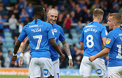 Mohamed Eisa of Peterborough United celebrates his second goal of the game with team-mate Marcus Maddison - Mandatory by-line: Joe Dent/JMP - 28/09/2019 - FOOTBALL - Weston Homes Stadium - Peterborough, England - Peterborough United v AFC Wimbledon - Sky Bet League One