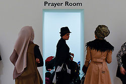© Licensed to London News Pictures. 18/02/2017. London, UK.  A dedicated Prayer Room is available at the UK's first London Modest Fashion Week taking place this weekend at the Saatchi Gallery.  The two day event sees 40 brands from across the world come together to showcase their collections for Muslim and other religious women. Photo credit : Stephen Chung/LNP