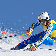 Tim Lindgren, Sweden, in action during the Men's Giant Slalom competition at Coronet Peak, New Zealand during the Winter Games. Queenstown, New Zealand, 22nd August 2011. Photo Tim Clayton