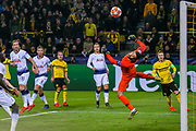 Tottenham Hotspur goalkeeper Hugo Lloris (1) makes a dramatic save from Borussia Dortmund midfielder Mario Götze (10) during the Champions League round of 16, leg 2 of 2 match between Borussia Dortmund and Tottenham Hotspur at Signal Iduna Park, Dortmund, Germany on 5 March 2019.