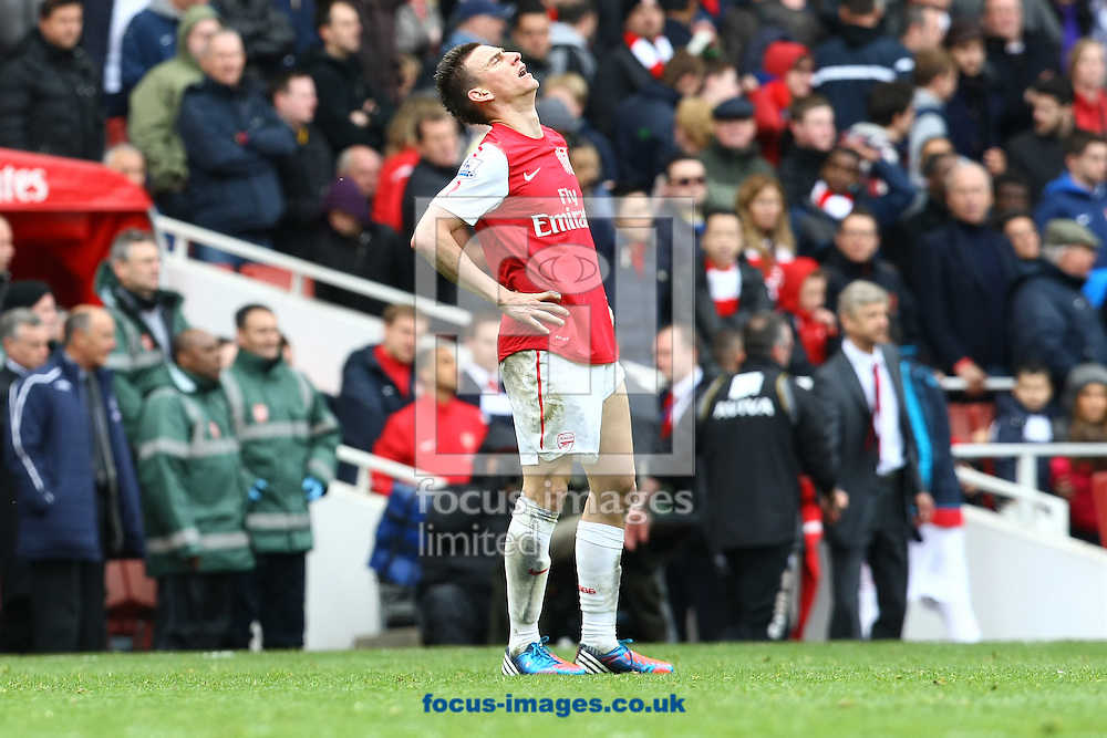 Picture by Paul Chesterton/Focus Images Ltd.  07904 640267.05/05/12.Laurent Koscielny of Arsenal show the pain at the end of the Barclays Premier League match at The Emirates Stadium, London.