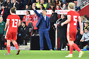 England women's manager Phil Neville waves his team forward during the FIFA Women's World Cup UEFA Qualifier match between England Ladies and Wales Women at the St Mary's Stadium, Southampton, England on 6 April 2018. Picture by Graham Hunt.