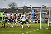Bromlet goal keeper Alan Julian makes a save from a Forest Green Rovers Elliott Frear(11) free kick during the Vanarama National League match between Bromley FC and Forest Green Rovers at Hayes Lane, Bromley, United Kingdom on 7 January 2017. Photo by Shane Healey.