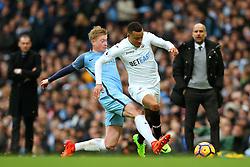 Kevin De Bruyne of Manchester City fouls Martin Olsson of Swansea City - Mandatory by-line: Matt McNulty/JMP - 05/02/2017 - FOOTBALL - Etihad Stadium - Manchester, England - Manchester City v Swansea City - Premier League