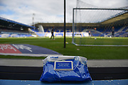 Antibacterial wipes ready for the match balls with the goal and pitch in the background during the EFL Sky Bet Championship match between Birmingham City and Huddersfield Town at the Trillion Trophy Stadium, Birmingham, England on 1 July 2020.