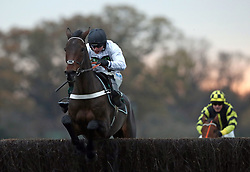 Beat That ridden by James Bowen wins the Smarkets Carlow Veterans' Handicap Chase at Warwick Racecourse.