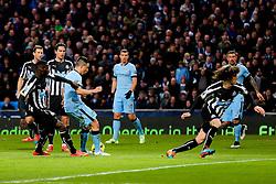 Manchester City's Samir Nasri scores his sides second goal  - Photo mandatory by-line: Matt McNulty/JMP - Mobile: 07966 386802 - 21/02/2015 - SPORT - Football - Manchester - Etihad Stadium - Manchester City v Newcastle United - Barclays Premier League