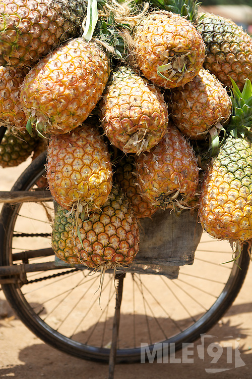 A bicycle selling fresh pineapples outside Kasangati Health Centre in Uganda.