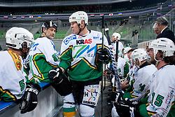 Jure Vnuk and Bojan Zajc on bench during ice-hockey friendly match between legends of HDD Tilia Olimpija and HK Acroni Jesenice, on April 14, 2012 at SRC Stozice, Ljubljana, Slovenia. (Photo By Matic Klansek Velej / Sportida.com)