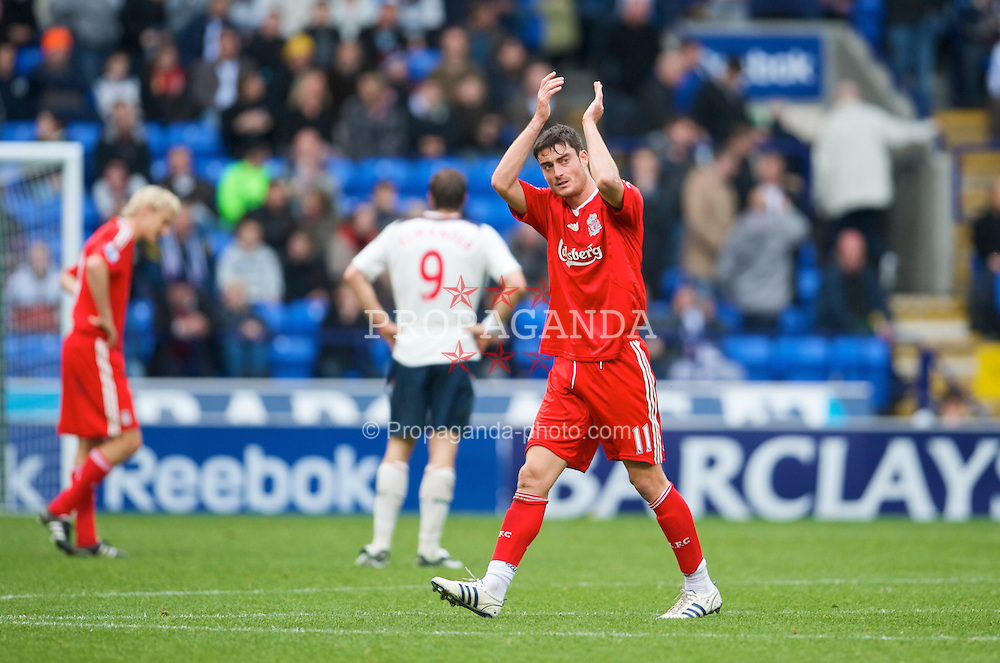 BOLTON, ENGLAND - Saturday, November 15, 2008: Liverpool's Albert Riera after the Premiership match against Bolton Wanderers at the Reebok Stadium. (Photo by David Rawcliffe/Propaganda)