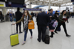 April 14, 2017 - London, London, UK - London, UK. People travel on Good Friday for Easter bank holiday weekend at Waterloo Station in London on 14 April 2017. (Credit Image: © Tolga Akmen/London News Pictures via ZUMA Wire)
