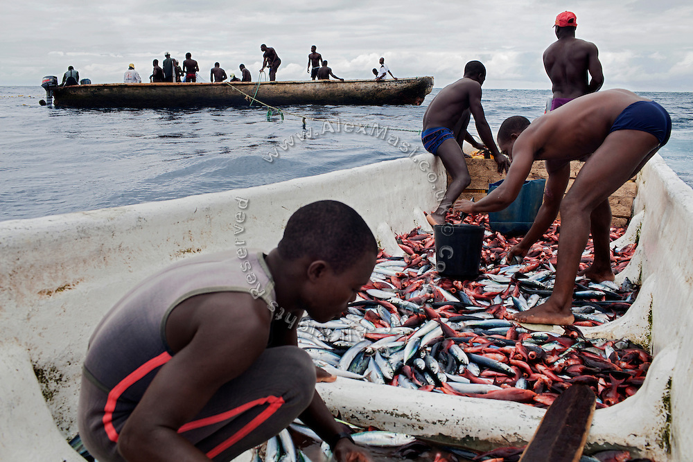 Fishermen are working near the island of Sao Tome, Sao Tome and Principe, (STP) a former Portuguese colony in the Gulf of Guinea, West Africa.