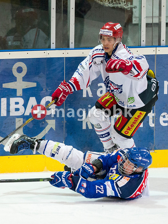 Rapperswil-Jona Lakers defenseman Lars Mathis (standing) and ZSC Lions forward Leeroy Ruesi (Rusi) battle for possession during the fourth Elite B Playoff Final ice hockey game between ZSC Lions and Rapperswil-Jona Lakers in Duebendorf, Switzerland, Friday, Mar. 17, 2017. (Photo by Patrick B. Kraemer / MAGICPBK)