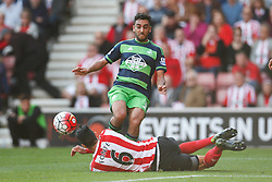 Swansea City's Neil Taylor is fouled in the penalty area, leading to a Swansea City penalty - Mandatory by-line: Jason Brown/JMP - 07966 386802 - 26/09/2015 - FOOTBALL - Southampton, St Mary's Stadium - Southampton v Swansea City - Barclays Premier League