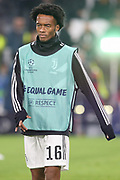 Juventus Forward Juan Cuadrado warm up during the Champions League Group H match between Juventus FC and Manchester United at the Allianz Stadium, Turin, Italy on 7 November 2018.