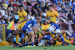 Guido Petti of the Jaguares is caught in the tackle during the Super Rugby match between DHL Stormers and Jaguares held at DHL Newlands in Cape Town, South Africa on the 4th March 2017.<br /> <br /> Photo by Ron Gaunt/Villar Press