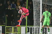 Forest Green Rovers goalkeeper Bradley Collins(1) comes out to claim the ball during the EFL Sky Bet League 2 match between Forest Green Rovers and Lincoln City at the New Lawn, Forest Green, United Kingdom on 12 September 2017. Photo by Shane Healey.