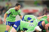 Aaron Smith (Highlanders) shouts encouragement at his scrum during the Round 17 match of the 2013 Super Rugby Championship between RaboDirect Rebels vs Highlanders at AAMI Park, Melbourne, Victoria, Australia. 12/07/0213. Photo By Lucas Wroe