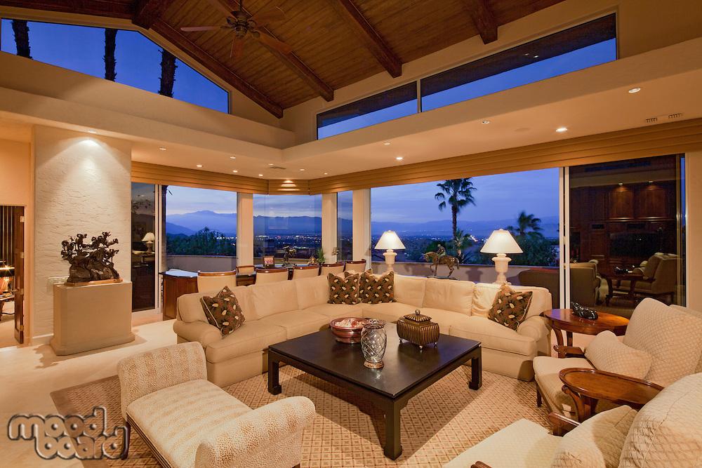 Living room interior of luxury villa
