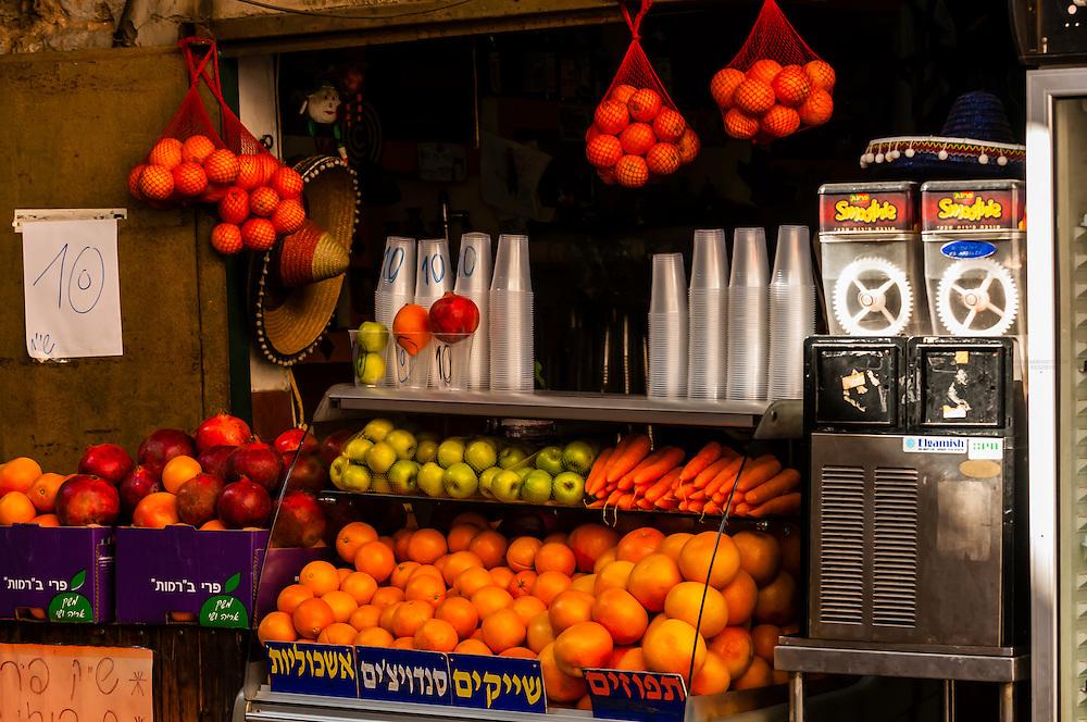 Fresh fruit and vegetable juices at a sidewalk stand, Jaffa, Tel Aviv, Israel.