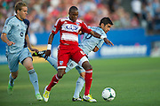 FRISCO, TX - JUNE 22:  Jackson #6 of FC Dallas controls the ball against Chance Myers #7 and Paulo Nagamura #6 of Sporting Kansas City on June 22, 2013 at FC Dallas Stadium in Frisco, Texas.  (Photo by Cooper Neill/Getty Images) *** Local Caption *** Jackson; Chance Myers; Paulo Nagamura