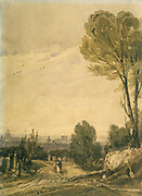 Pere Lachaise Cemetery, Paris', 1825. Watercolour by Richard Parkes Bonington (1892-1828) English Romantic painter.