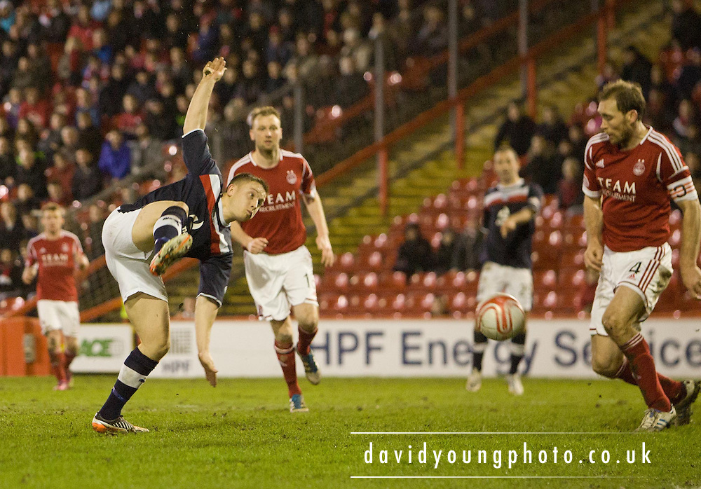 Dundee's John Baird gets in a shot - Aberdeen v Dundee, Clydesdale Bank Scottish Premier League at Pittodrie .. - © David Young - www.davidyoungphoto.co.uk - email: davidyoungphoto@gmail.com