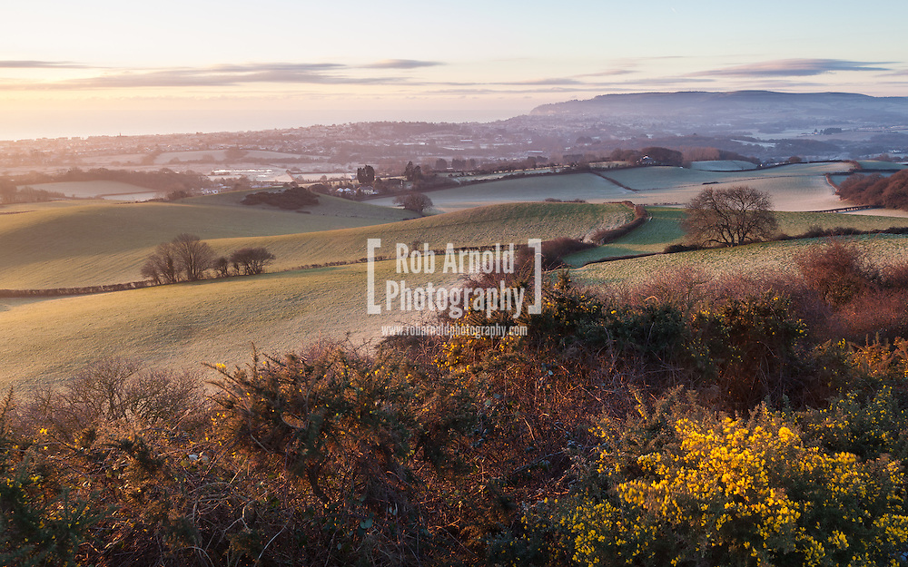 A frosty dawn over the valley of the River Yar on the Isle of Wight.