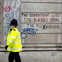 London April 2nd  Clearing of graffiti on the Bank of England and smashed windows at RBS..Standard Licence feee's apply  to all image usage.Marco Secchi - Xianpix tel +44 (0) 845 050 6211 .e-mail ms@msecchi.com .http://www.marcosecchi.com