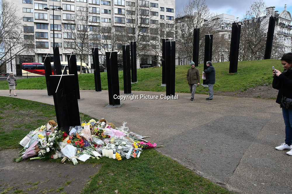 People leave flower for the Christchurch victims terrorists attack at the New Zealand War Memorial, on 17 March 2019, London, UK.