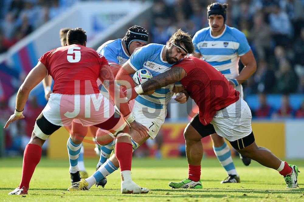 Juan Martin Fernandez Lobbe of Argentina takes on the Tonga defence - Mandatory byline: Patrick Khachfe/JMP - 07966 386802 - 04/10/2015 - RUGBY UNION - Leicester City Stadium - Leicester, England - Argentina v Tonga - Rugby World Cup 2015 Pool C.