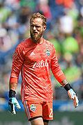 Stefan Frei #24 of Seattle Sounders looks down the field during a MLS soccer match against the New England Revolution on Saturday, Aug. 10, 2019, in Seattle. The teams played tp a 3-3 tie. (Alika Jenner/Image of Sport)