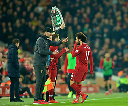 LIVERPOOL, ENGLAND - Wednesday, February 27, 2019: Liverpool's manager Jürgen Klopp issues instructions to Mohamed Salah during the FA Premier League match between Liverpool FC and Watford FC at Anfield. (Pic by Paul Greenwood/Propaganda)