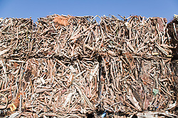 Baled copper tube at metal recycling centre waiting to be sold on for remelting and reuse,