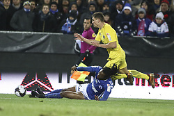 December 13, 2017 - Strasbourg, France - Strasbourg defender Bakary Kone vies Marco Verratti of PSG during the french League Cup match, Round of 16, between Strasbourg and Paris Saint Germain on December 13, 2017 in Strasbourg, France. (Credit Image: © Elyxandro Cegarra/NurPhoto via ZUMA Press)