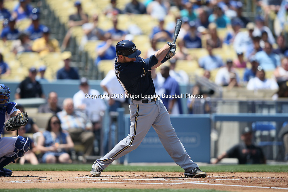 LOS ANGELES, CA - APRIL 28:  Jonathan Lucroy #20 of the Milwaukee Brewers bats during the game against the Los Angeles Dodgers on Sunday, April 28, 2013 at Dodger Stadium in Los Angeles, California. The Dodgers won the game 2-0. (Photo by Paul Spinelli/MLB Photos via Getty Images) *** Local Caption *** Jonathan Lucroy