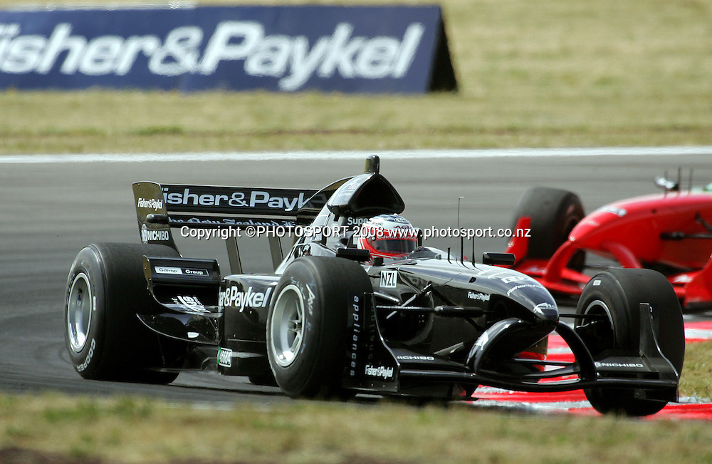 Team New Zealand's Jonny Reid leads South Africa through Turn 7 on the first lap of the Sprint Race.<br /> A1GP Race Day. Taupo Motorsport Park, Taupo, New Zealand. Sunday, 20 January 2008. Photo: Dave Lintott/PHOTOSPORT