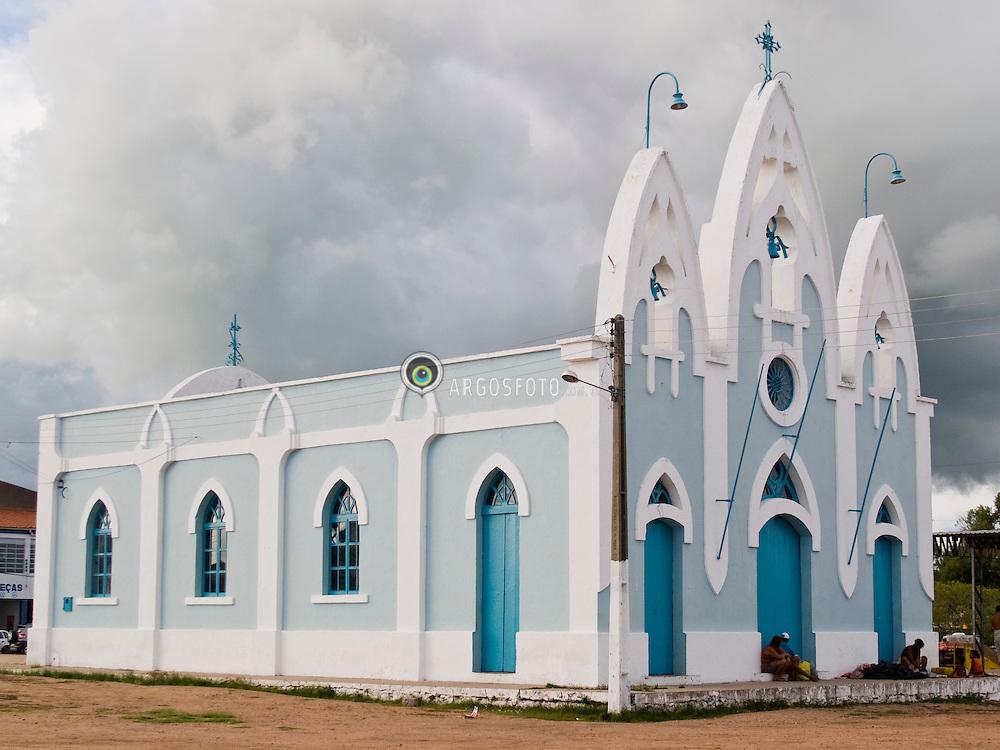Centro da cidade de Delmiro Gouveia, em Alagoas. Igreja da Vila da Pedra, ou Capela Nossa Senhora do Rosario, construida em 1919 / Our Lady of the Rosary Chapel in Delmiro Gouveia city, in Brazil's northeast.Foto Marcos Issa