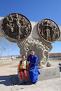 GOBI DESERT, MONGOLIA..09/03/2001.Bayanhongor (Bayankhongor). Monument to honour the Communist Revolution..(Photo by Heimo Aga).