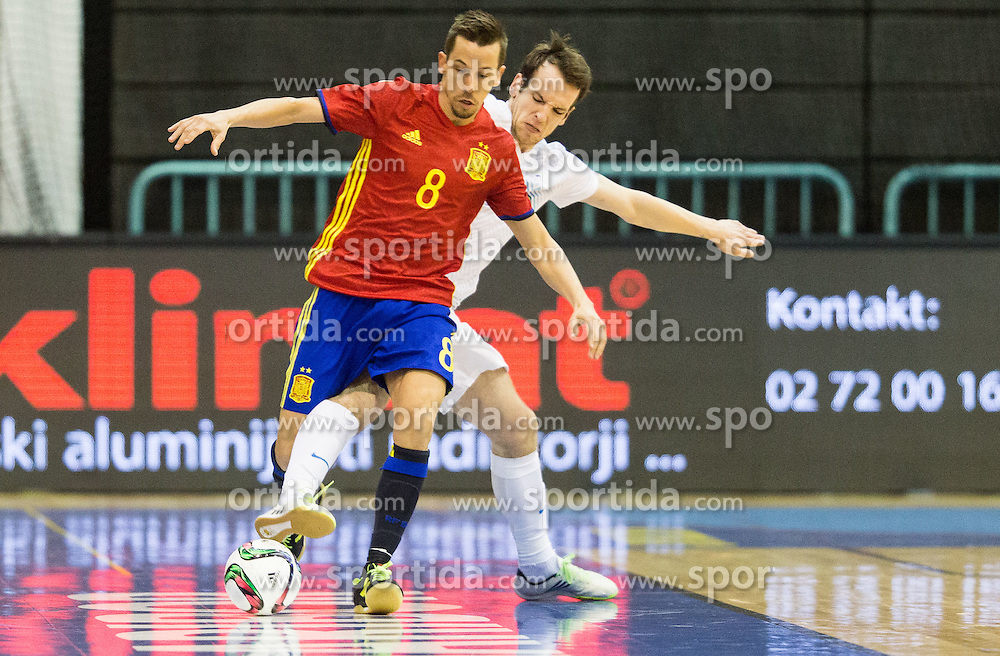 Lin of Spain vs Tilen Stendler of Slovenia during futsal match between National teams of Slovenia and Spain in Play off of FIFA Futsal World Cup Colombia 2016 Qualifications, on March 22, 2016 in Arena Tabor, Maribor, Slovenia. Photo by Vid Ponikvar / Sportida