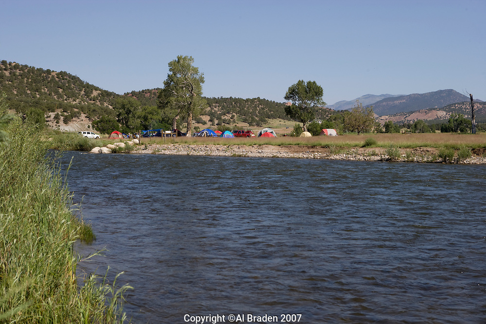 Camping at Arkansas River near Howard, Colorado