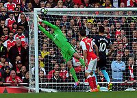 Football - 2016 / 2017 Premier League - Arsenal vs. Middlesbrough<br /> <br /> Petr Cech of Arsenal saves a free kick from going in the top corner at The Emirates.<br /> <br /> COLORSPORT/ANDREW COWIE