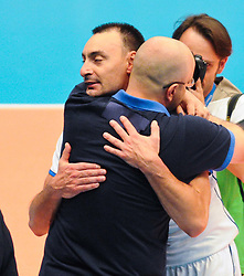 17.09.2011, Stadthalle, Wien, AUT, CEV, Europaeische Volleyball Meisterschaft 2011, Halbfinale, Italien vs Polen, im Bild Jubel Andrea Bari, (ITA, #4, Libero 1) und Mauro Berruto, (ITA, Headcoach) // during the european Volleyball Championship Semi Final Italy vs Poland, at Stadthalle, Vienna, 2011-09-17, EXPA Pictures © 2011, PhotoCredit: EXPA/ M. Gruber