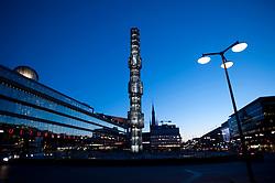 Evening view of Sergels Torg and Kulturhuset building in central Stockholm Sweden 2009