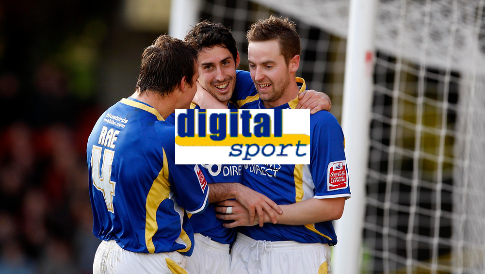 Photo: Richard Lane/Sportsbeat Images.<br />Watford v Cardiff City. Coca Cola Championship. 26/12/2007. <br />Cardiff's Peter Whittingham (c) celebrates scoing the second goal with Gavin Rae and Steve Mclean (rt).