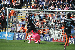 LUTON KEEPER STUART MOORE MAKES A GREAT SAVE TO DENY BARNET JOHN AKINDE, Barnet v Luton Town EFL Sky Bet League 2 The Hive, Saturday 8th April 2017, Score 0-1<br /> Photo:Mike Capps