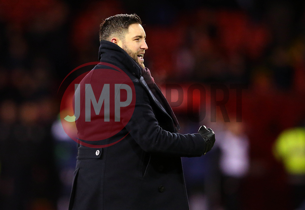 Bristol City head coach Lee Johnson celebrates his side's win over Sheffield United - Mandatory by-line: Robbie Stephenson/JMP - 08/12/2017 - FOOTBALL - Bramall Lane - Sheffield, England - Sheffield United v Bristol City - Sky Bet Championship