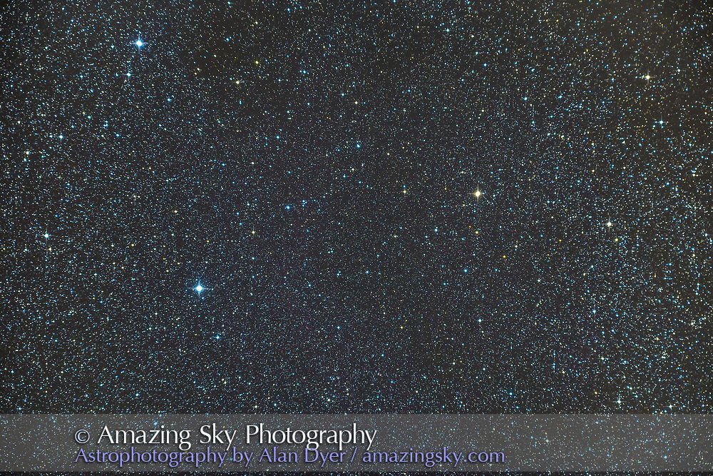The double star 61 Cygni (right of centre), a double star, in Cygnus. It is also known as &ldquo;The Flying Star&rdquo; for its large proper motion across the sky, noted in 1792 by Piazzi. It was also the first star to have its distance measured via trigonometric parallax, be Friedrich Bessel in 1838. <br /> <br /> Shot Nov 10, 2014 from New Mexico, with the 92mm TMB apo refractor at its native f-ratio of f/5.5 with the Hotech field flattener, and Canon 6D for a stack of 4 x 6 minute exposures at ISO 800.